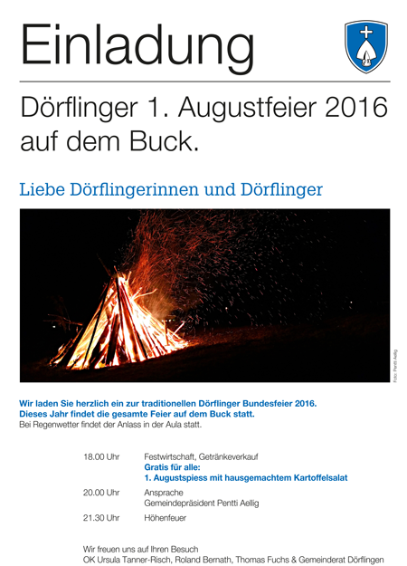 Einladung zur Dörflinger 1. Augustfeier auf dem Buck